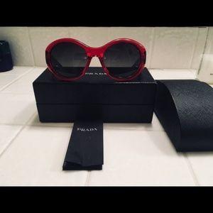 Authentic Prada red and black sunglasses